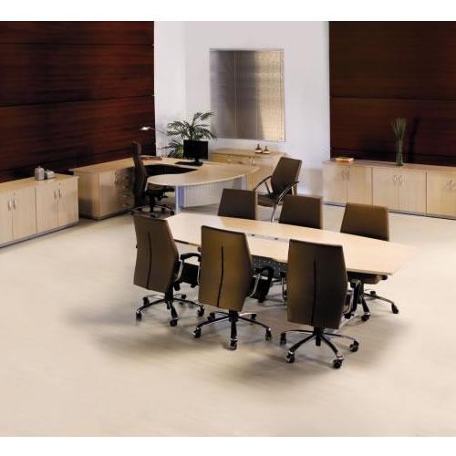 Mesa de reunião semi oval premium